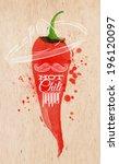 poster watercolor lettering hot ... | Shutterstock .eps vector #196120097