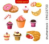 sweet dessert vector icon set.... | Shutterstock .eps vector #196123733