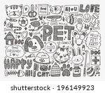 doodle pet background | Shutterstock .eps vector #196149923