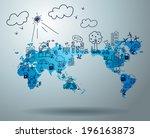 ecology concept  creative... | Shutterstock .eps vector #196163873