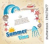 summer frame card background | Shutterstock .eps vector #196173677