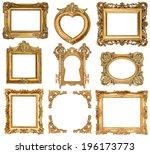 Set Of Golden Frames Isolated...