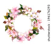 floral round crown  wreath ... | Shutterstock . vector #196176293