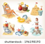 set of summer beach elements... | Shutterstock .eps vector #196198193