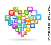 social media heart | Shutterstock .eps vector #196201427