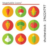 vegetable flat icons set in... | Shutterstock .eps vector #196224797