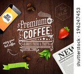 premium coffee advertising... | Shutterstock .eps vector #196247453