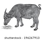 vector of buffalo eating hay... | Shutterstock .eps vector #196267913
