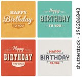 happy birthday card   retro... | Shutterstock .eps vector #196286843