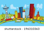 bright,buildings,business,cartoon,colorful,day,district,downtown,exterior,illustration,pier,seattle,skyline,skyscraper,vector