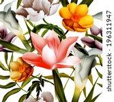 seamless tropical flower  plant ... | Shutterstock . vector #196311947