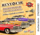rent a car retro poster. | Shutterstock .eps vector #196320083