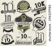 vintage style 10 anniversary... | Shutterstock .eps vector #196329983