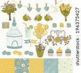 bright set for wedding design.... | Shutterstock .eps vector #196375427