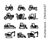 Set icons of tractors, farm and buildings machines, construction vehicles isolated on white. Vector illustration - stock vector