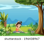 illustration of a young girl... | Shutterstock . vector #196438967