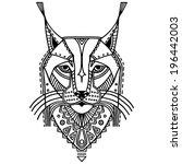 ethnic style bobcat's head... | Shutterstock .eps vector #196442003