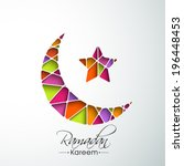 Colorful crescent moon and star on blue background for holy month of muslim community Ramadan Kareem.