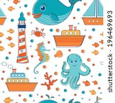 sea seamless pattern. vector...