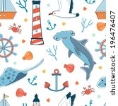 seamless pattern with sea... | Shutterstock .eps vector #196476407