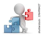3d small person wielding main... | Shutterstock . vector #196498427