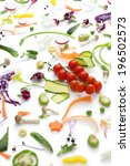 assortment fresh vegetables on... | Shutterstock . vector #196502573