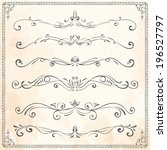 set of vintage vector dividers  ... | Shutterstock .eps vector #196527797