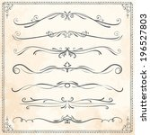 set of vintage vector dividers  ... | Shutterstock .eps vector #196527803