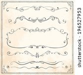 set of vintage vector dividers  ... | Shutterstock .eps vector #196527953