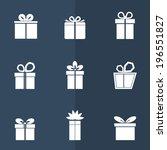 gift box white icons set on... | Shutterstock .eps vector #196551827