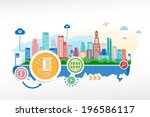 needle sign and cityscape... | Shutterstock .eps vector #196586117