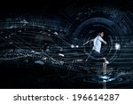 young running man against... | Shutterstock . vector #196614287