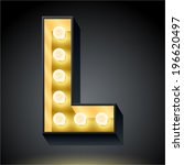 realistic dark lamp alphabet... | Shutterstock .eps vector #196620497