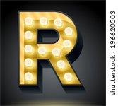 realistic dark lamp alphabet... | Shutterstock .eps vector #196620503