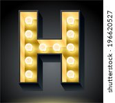 realistic dark lamp alphabet...   Shutterstock .eps vector #196620527