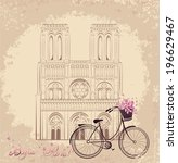 bonjour paris text with notre...   Shutterstock .eps vector #196629467