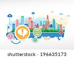 exclamation mark and cityscape... | Shutterstock .eps vector #196635173