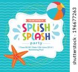 birthday card summer fun splash ... | Shutterstock .eps vector #196677263