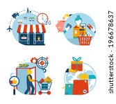 Set of four flat style vector shopping icons depicting a a store front customer shopping checkout with cashier  gift purchase and delivery