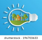 eco house and trees in the... | Shutterstock .eps vector #196703633