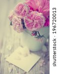 beautiful roses in a  vase with ... | Shutterstock . vector #196720013