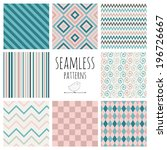 set of 8 seamless colorful... | Shutterstock .eps vector #196726667