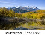 high mountain lake in the fall... | Shutterstock . vector #19674709