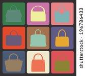 set of multi coloured  flat... | Shutterstock .eps vector #196786433