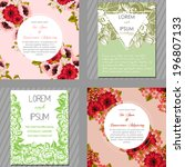 wedding invitation cards with... | Shutterstock . vector #196807133