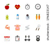 fitness and health icons   flat ... | Shutterstock .eps vector #196823147