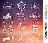 sunset background with labels... | Shutterstock .eps vector #196863917
