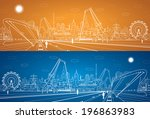 Vector industrial cargo port panorama, vector lines landscape, night city, ship on the water - stock vector