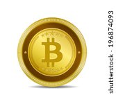 bit coin currency sign gold... | Shutterstock .eps vector #196874093
