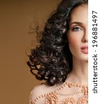beautiful brunette with   curly ... | Shutterstock . vector #196881497